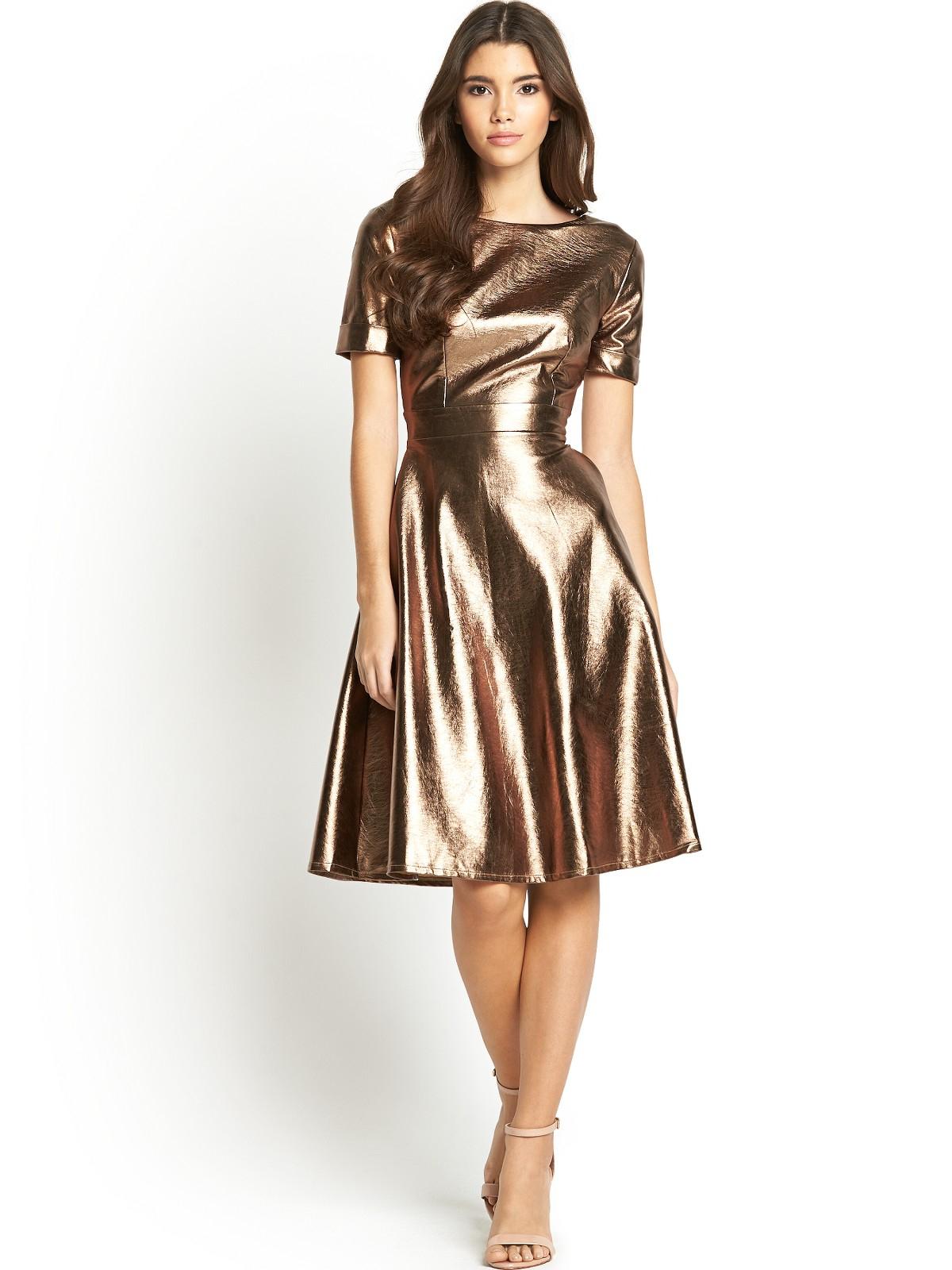 Little Mistress By Look Metallic Skater Dress In Gold