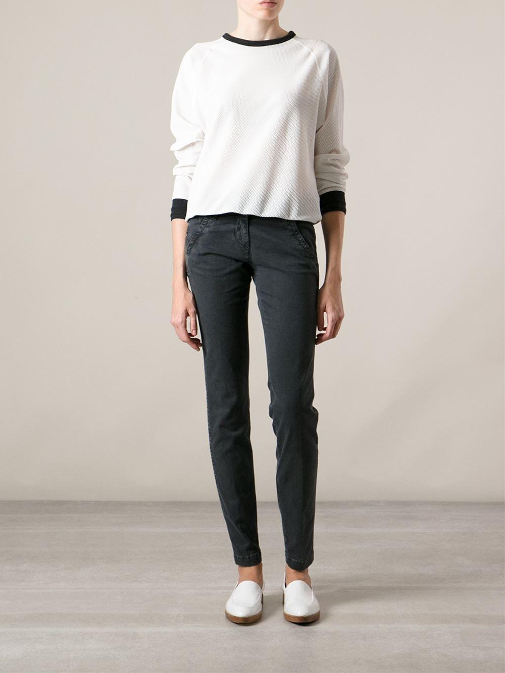 jacob cohen washed slim jeans in gray grey lyst. Black Bedroom Furniture Sets. Home Design Ideas