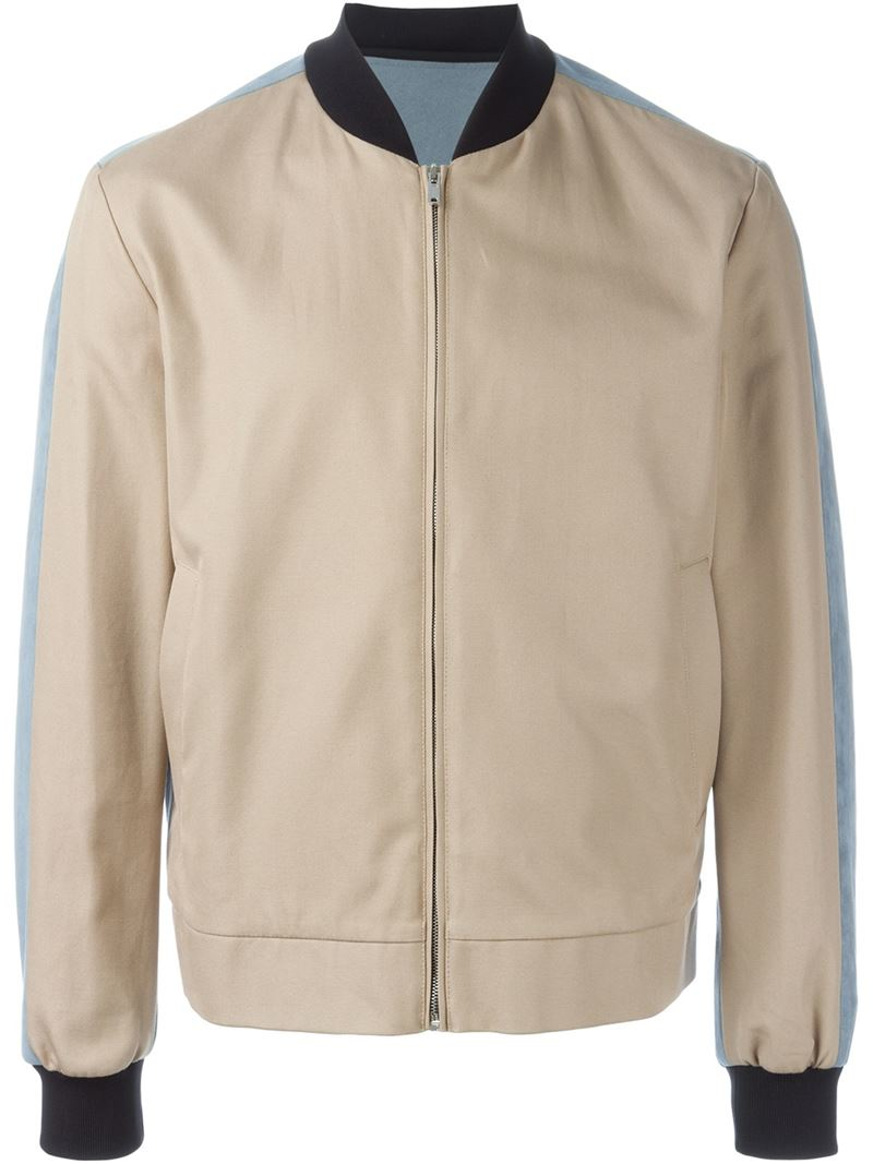 Msgm Colour Block Bomber Jacket in Natural for Men | Lyst