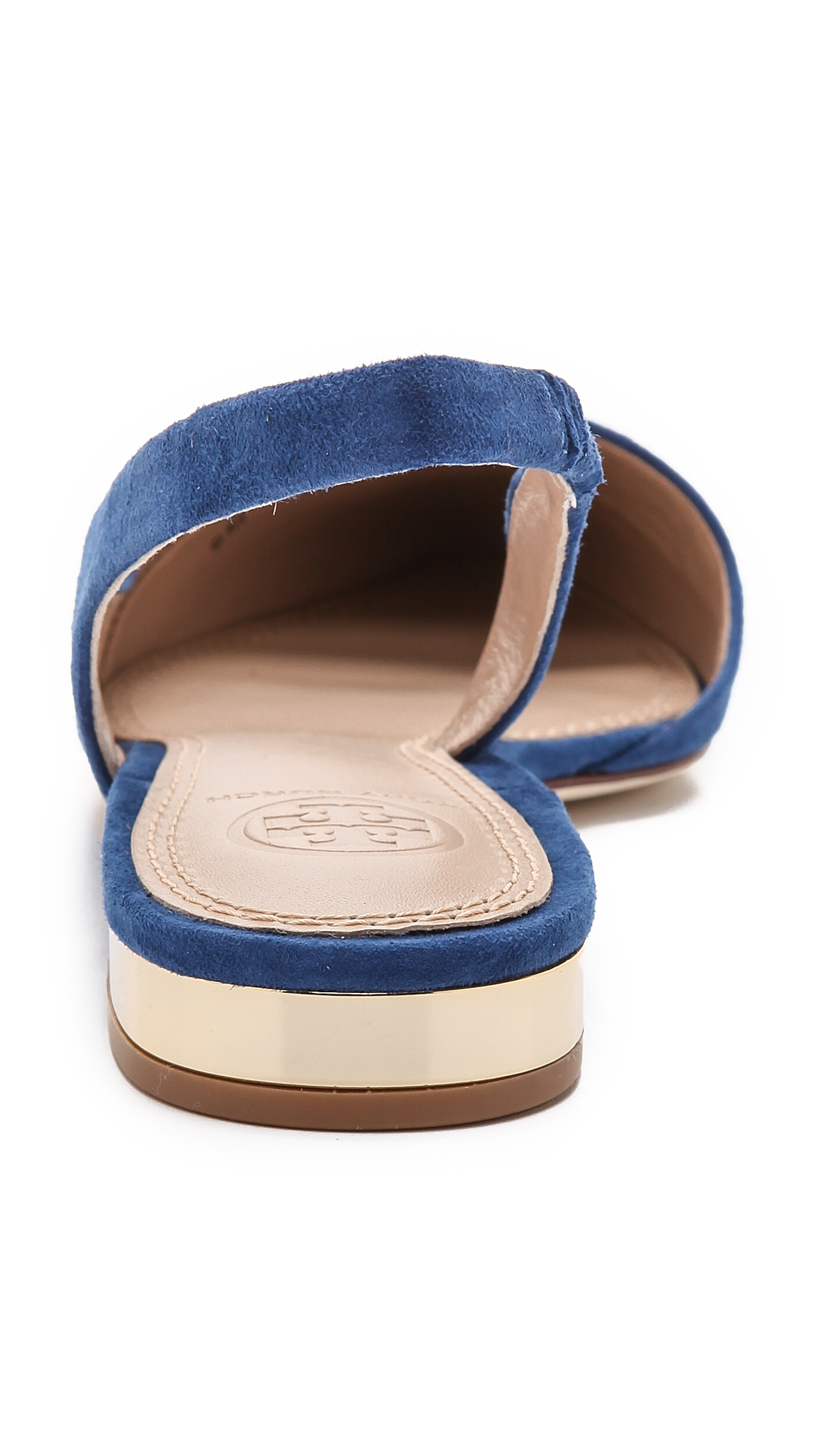 bcc8e874979dd4 Lyst - Tory Burch Pointed Toe Slingback Flats - Greek Blue in Blue