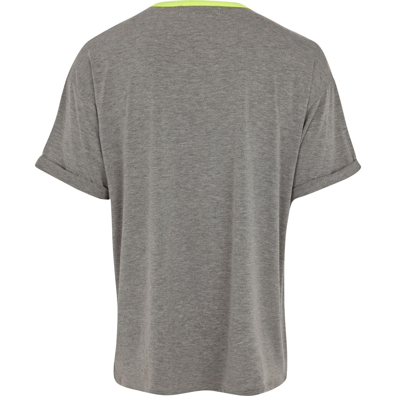 Lyst river island grey marl fluro neck t shirt in gray for Grey marl t shirt