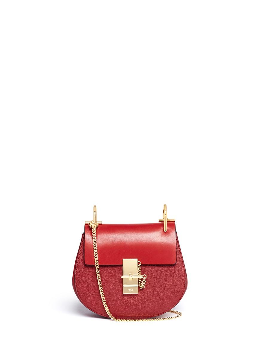 lyst chlo 39 drew 39 mini leather shoulder bag in red. Black Bedroom Furniture Sets. Home Design Ideas