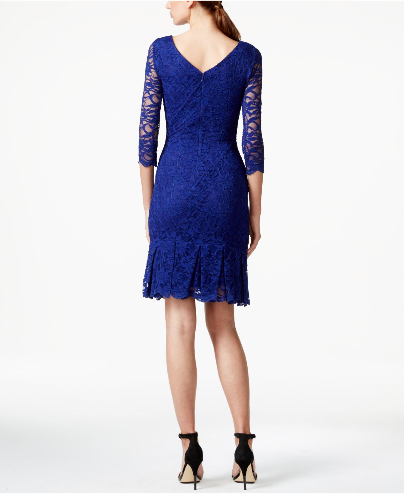 1d6892526c05 Lyst - Calvin Klein Floral Lace Sheath Dress in Blue