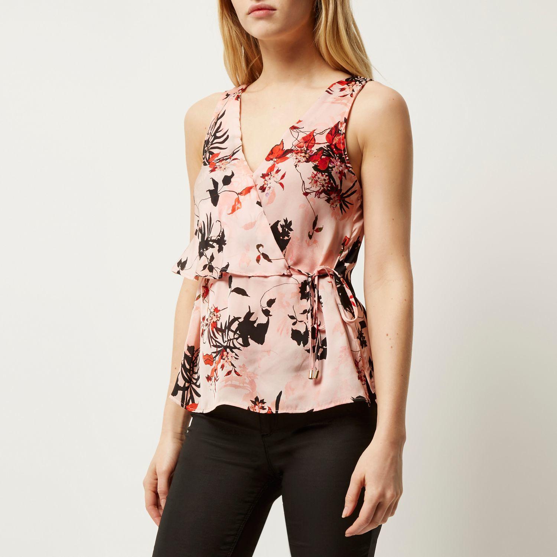 8af153d2be894 Lyst - River Island Pink Floral Print Frill Wrap V-neck Top in Pink