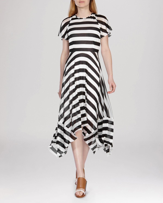 Karen Millen Dress Draped Striped Jersey In Black Lyst