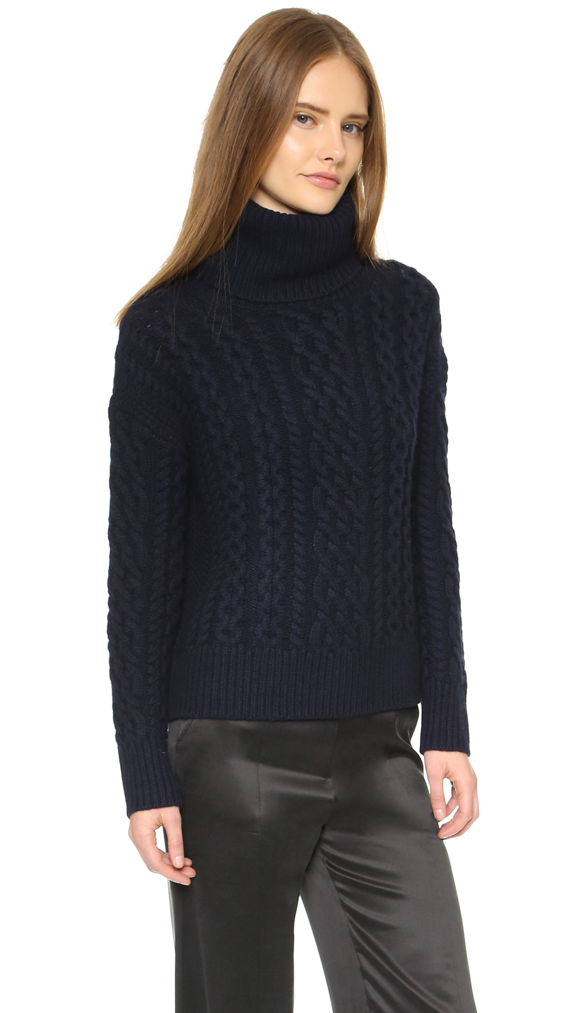 Nili lotan Aran Cashmere Turtleneck Sweater - Dark Navy in ...