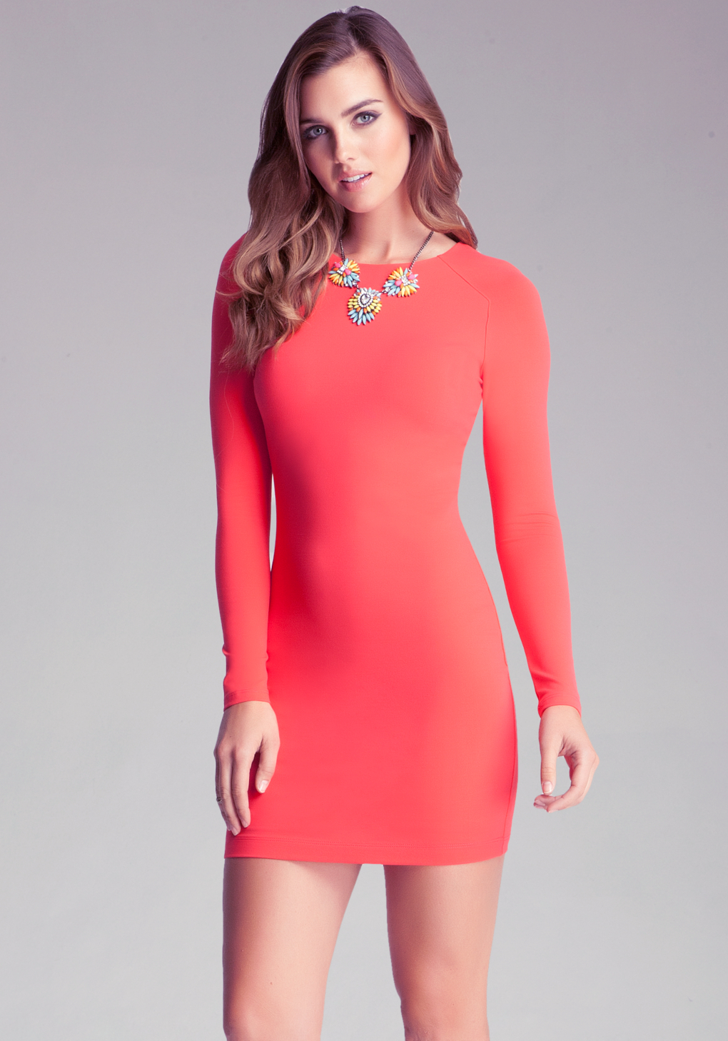 Bebe Long Sleeve Bodycon Dress in Red (hibiscus)