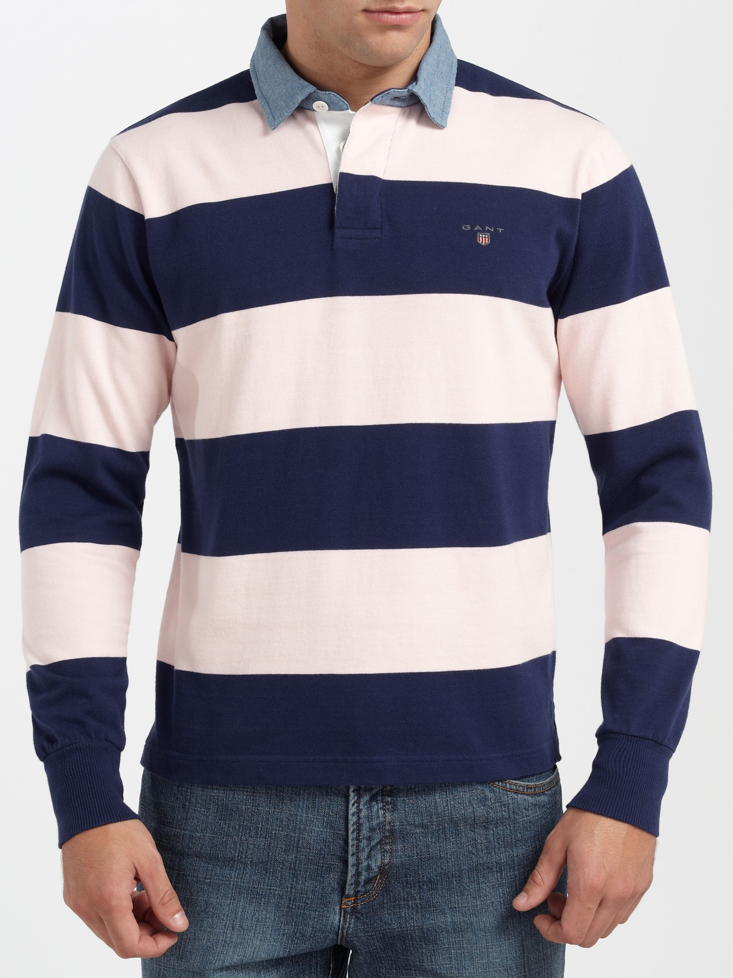 Gant denim collar barstripe rugby shirt in pink for men lyst for Pink and purple striped rugby shirt