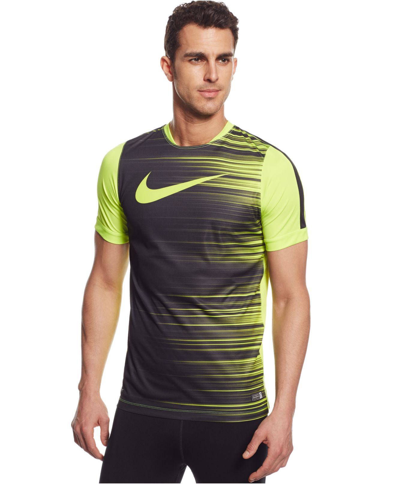Nike dri fit gpx flash t shirt in yellow for men lyst Fitness shirts for men
