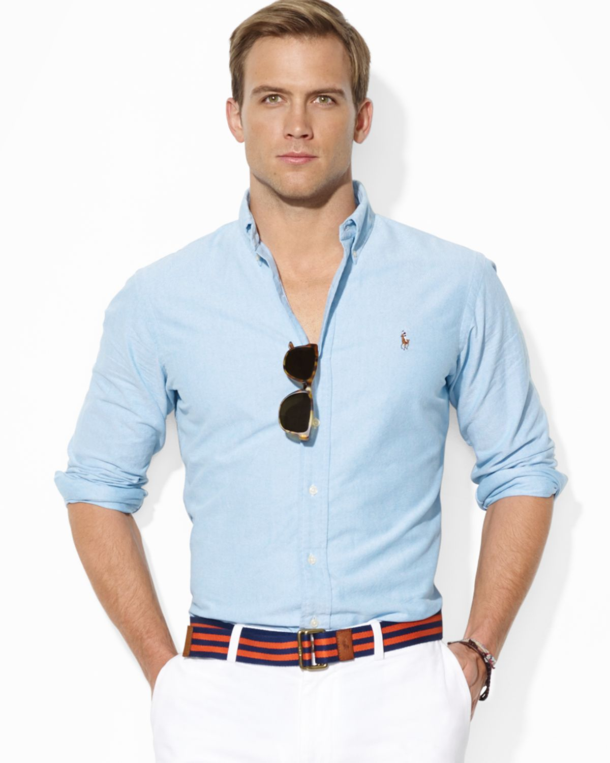 1514558ef74 ... new arrivals lyst ralph lauren polo classicfit solid oxford sport shirt  in blue 6a97e 71333