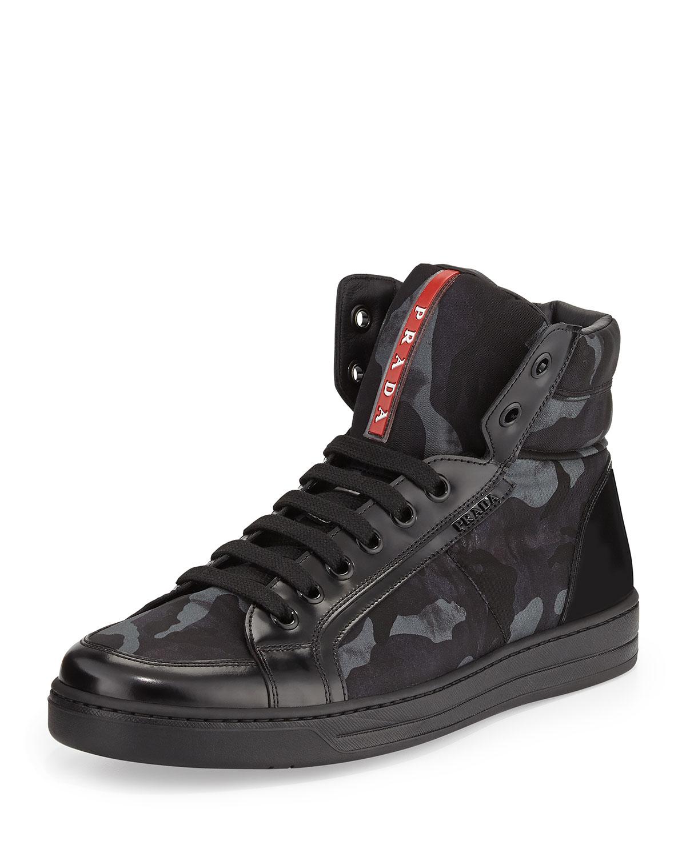 Prada Camouflage Print High Top Sneakers In Black For Men