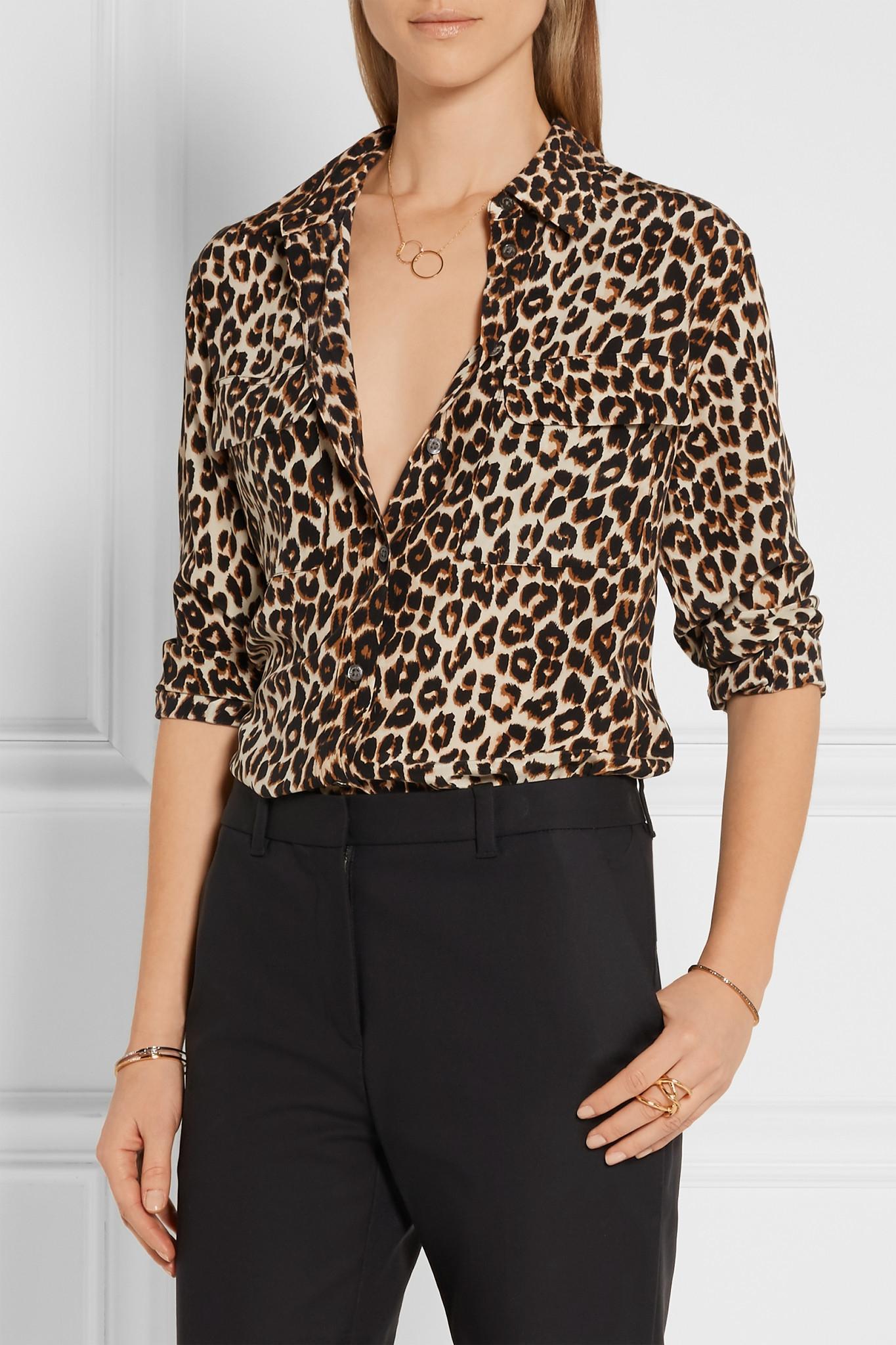 Lyst Equipment Signature Leopard Print Washed Silk Shirt In Black