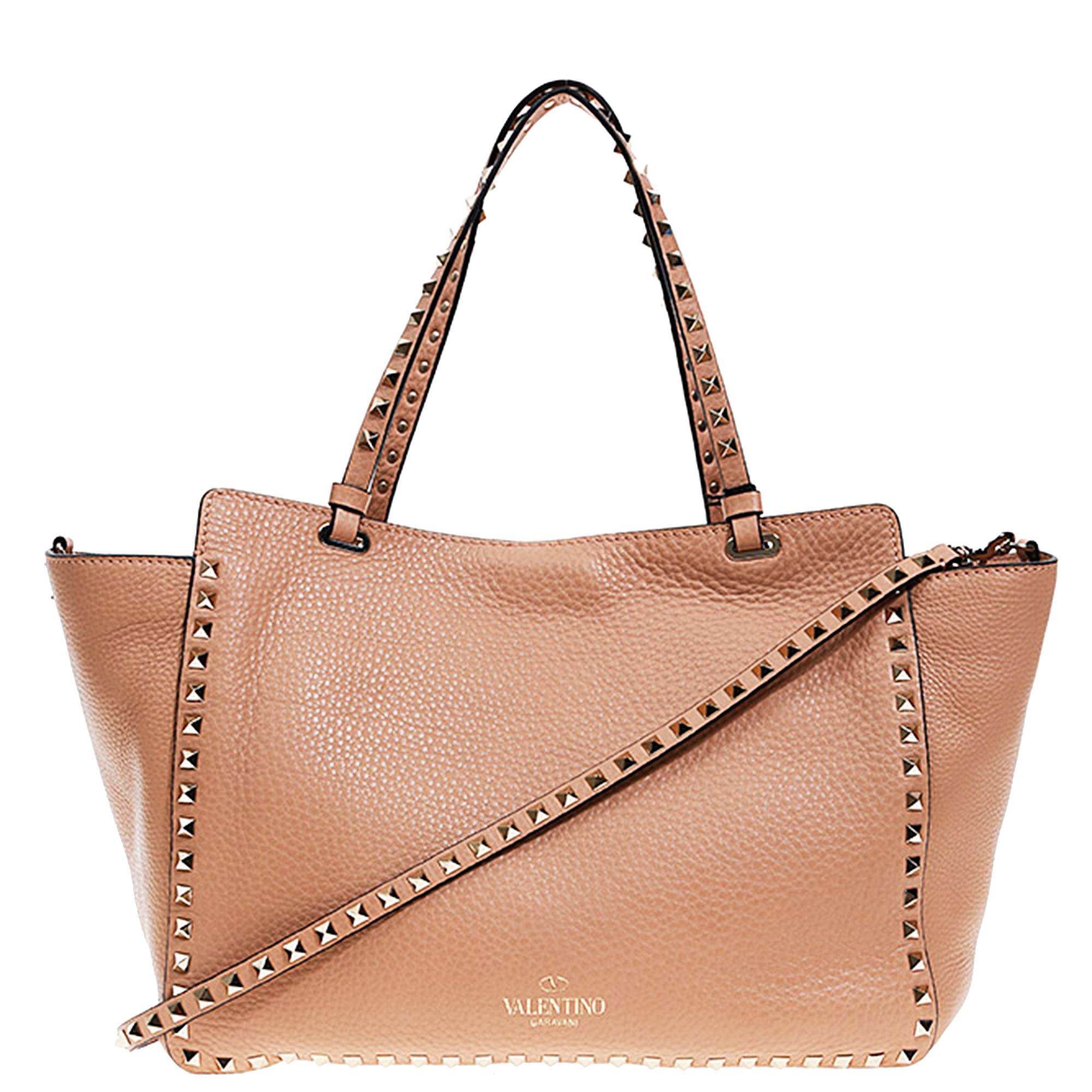 69b2c8b95320 Lyst - Valentino Rockstud Shopping Bag in Natural