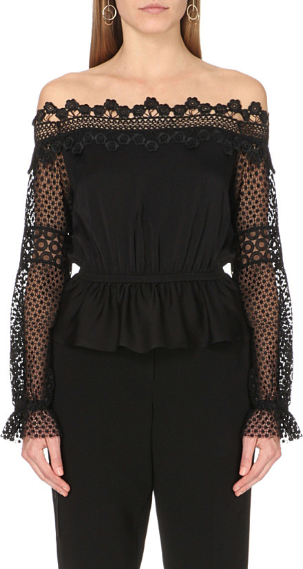 f23cf926f9d27 Self-Portrait Laced Top With Lace Crochet in Black - Lyst