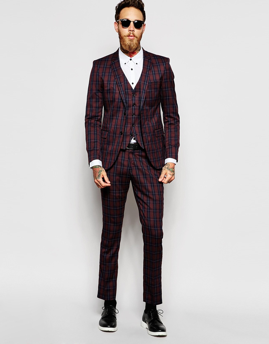 Selected Exclusive Tartan Suit Trouser In Skinny Fit in Purple for