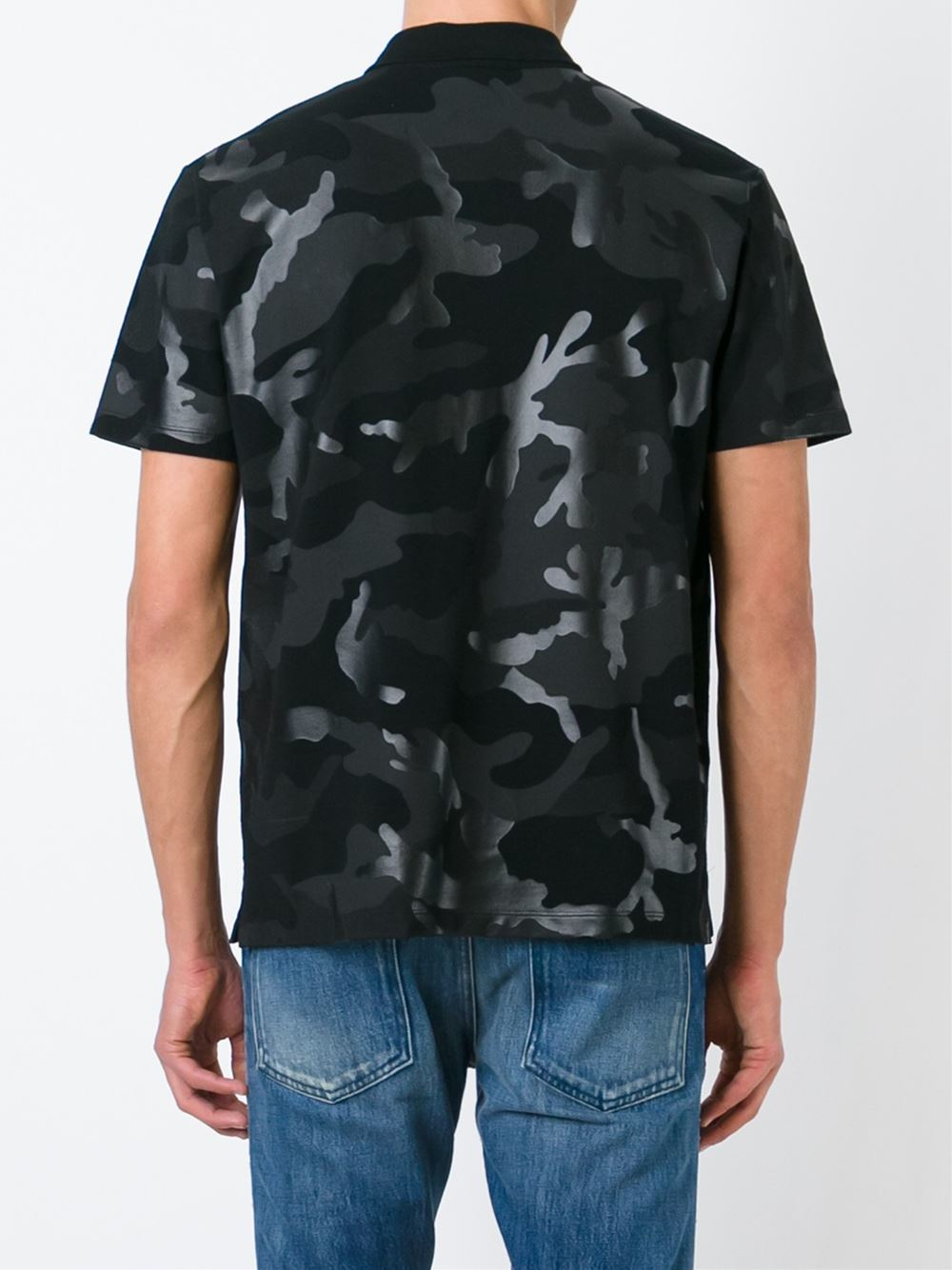 Lyst valentino rockstud camouflage polo shirt in black for Camo polo shirts for men