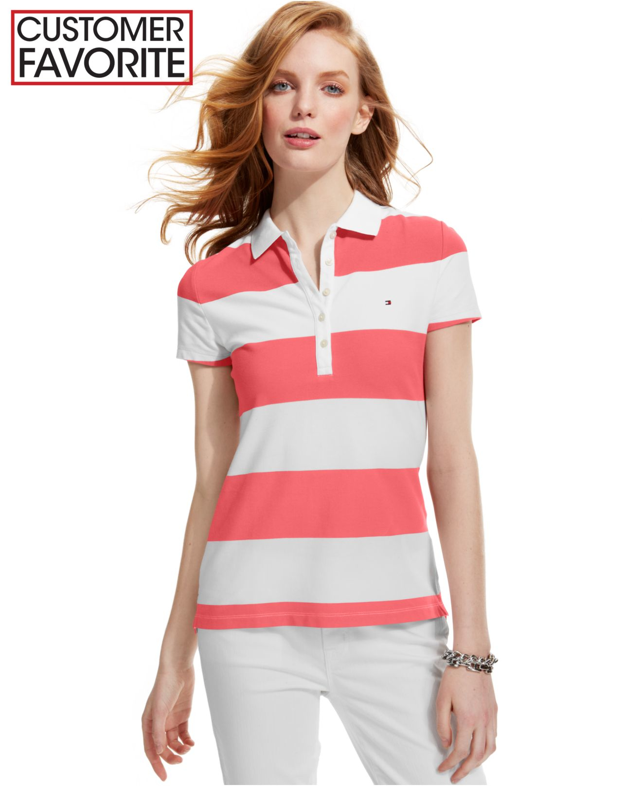 fe42c54bf7 Tommy Hilfiger Short-sleeve Stripe Rugby Polo in Pink - Lyst
