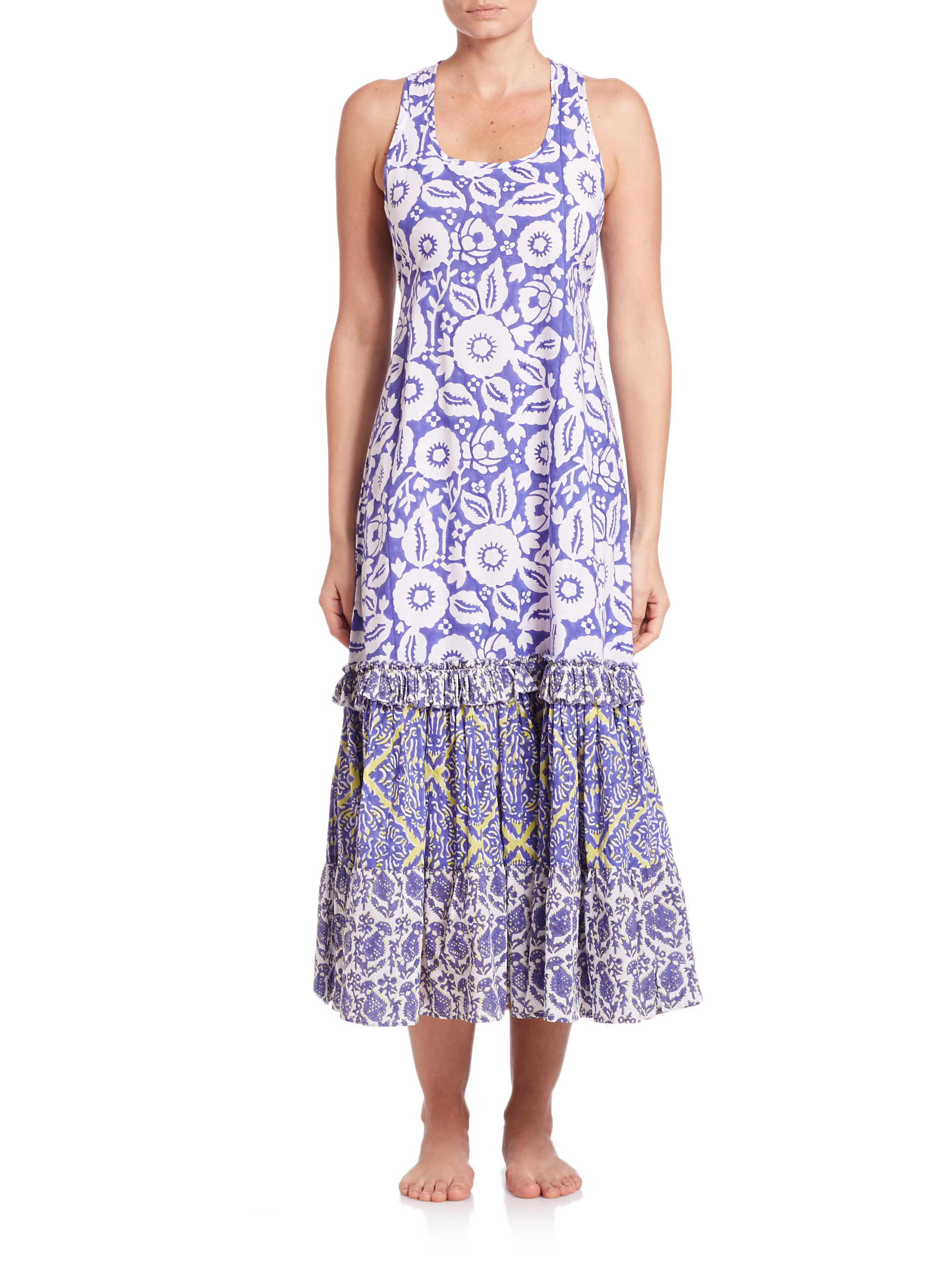66dbad329ff89 Roberta Roller Rabbit Letitia Long Cotton Beach Dress in Blue - Lyst