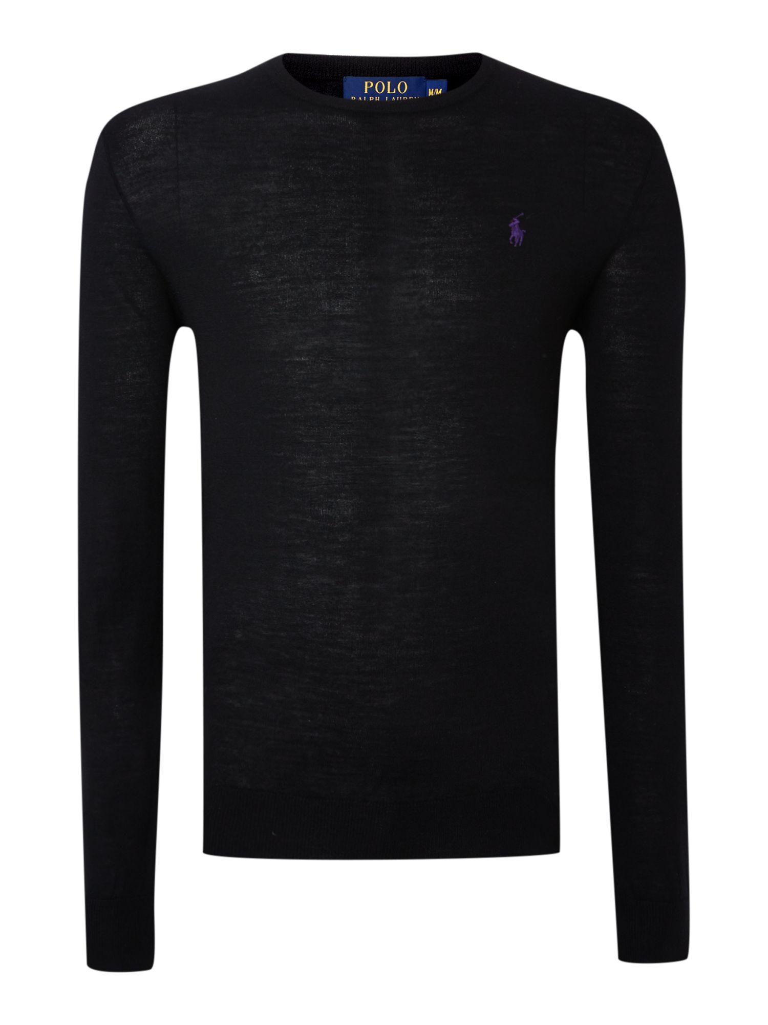 Ralph Lauren Menswear - Ralph Lauren Slim Fit Crew Neck Jumper Black