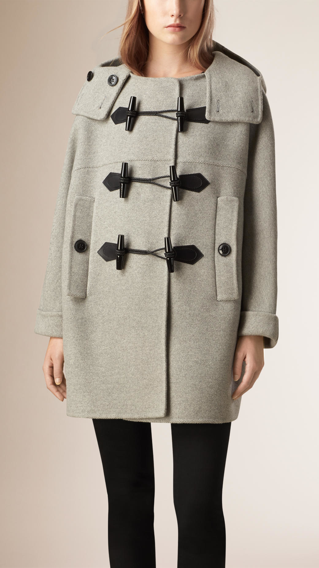Burberry Oversize Virgin Wool Cashmere Duffle Coat Light Grey