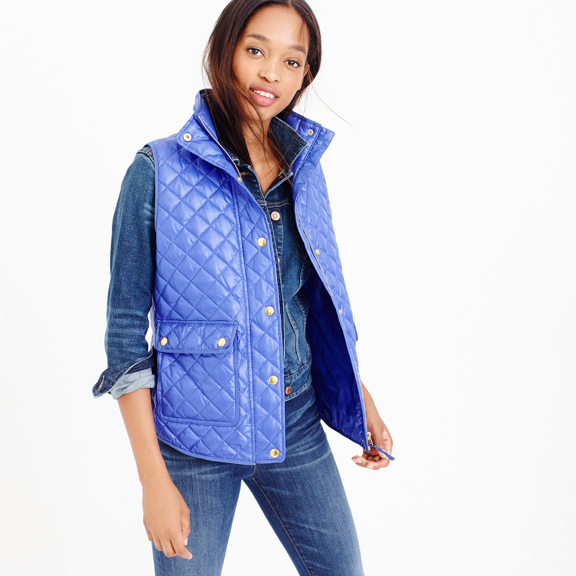 J Crew Petite Shiny Quilted Field Puffer Vest In Blue