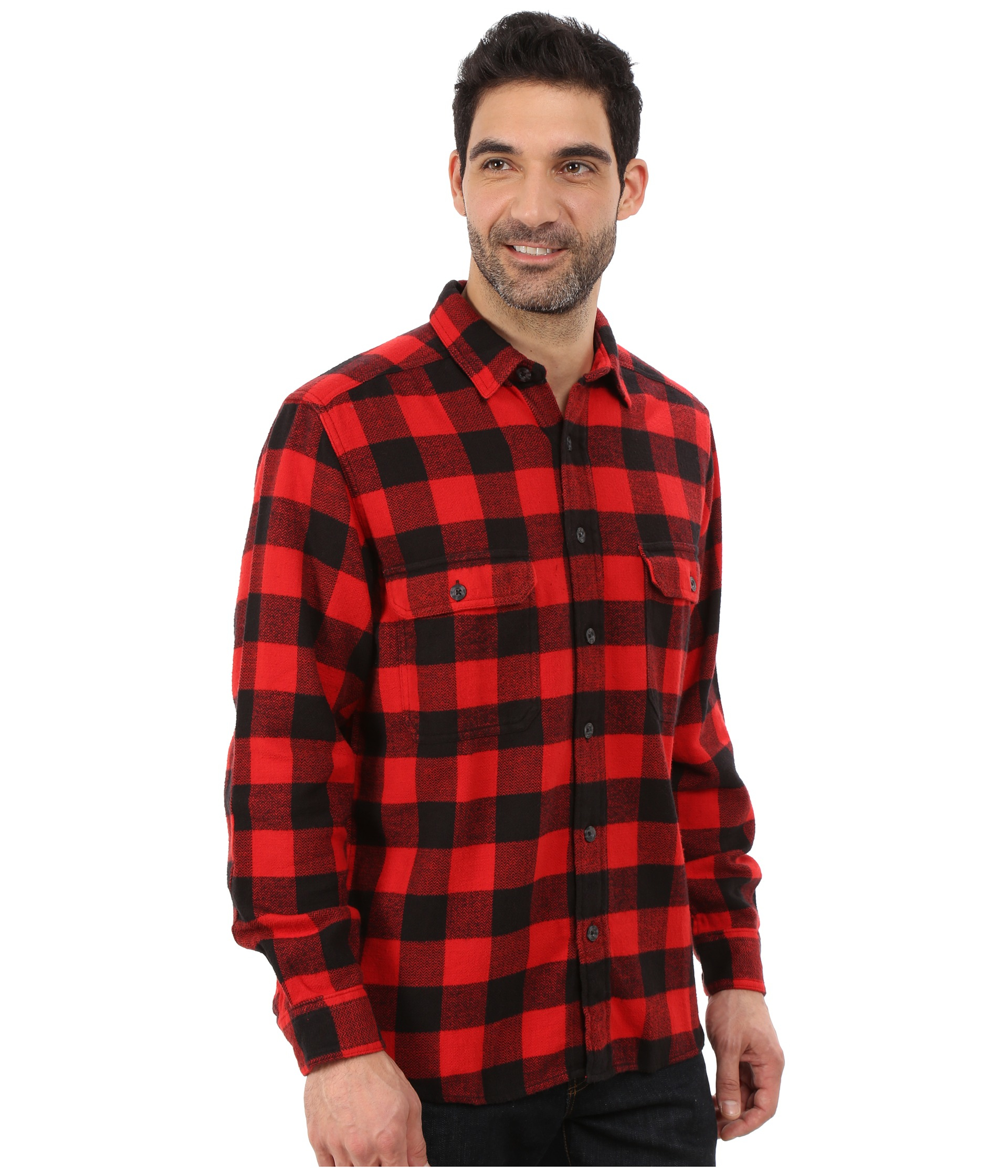 Woolrich oxbow bend flannel shirt in red for men old red for Red buffalo flannel shirt