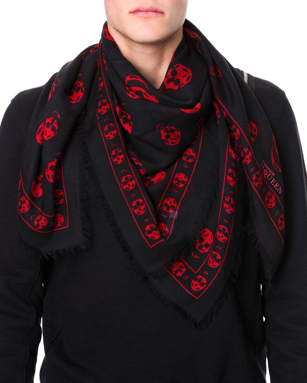 mcqueen skull print pashmina shawl in black for