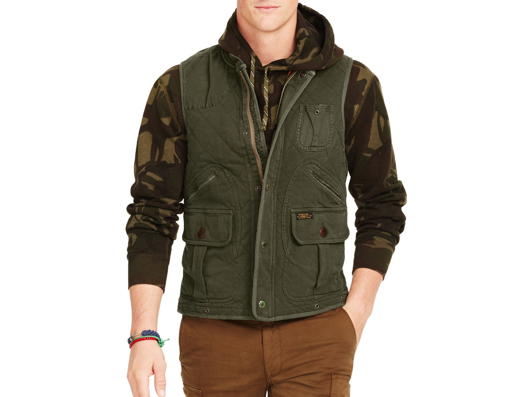 Lyst Ralph Lauren Polo Quilted Utility Vest In Green For Men