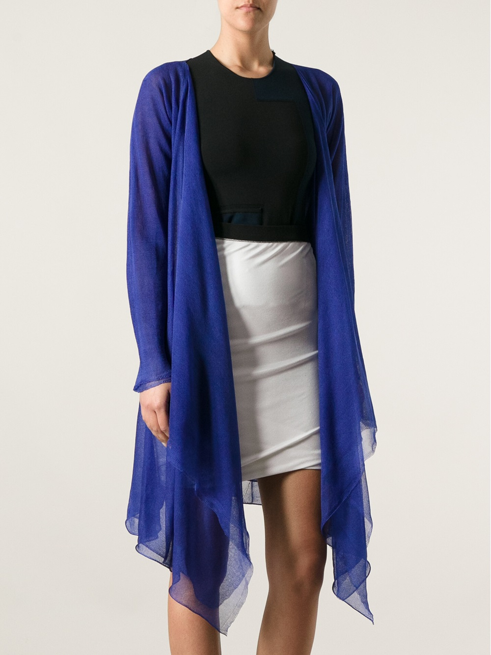 Giorgio armani Draped Sheer Cardigan in Blue | Lyst
