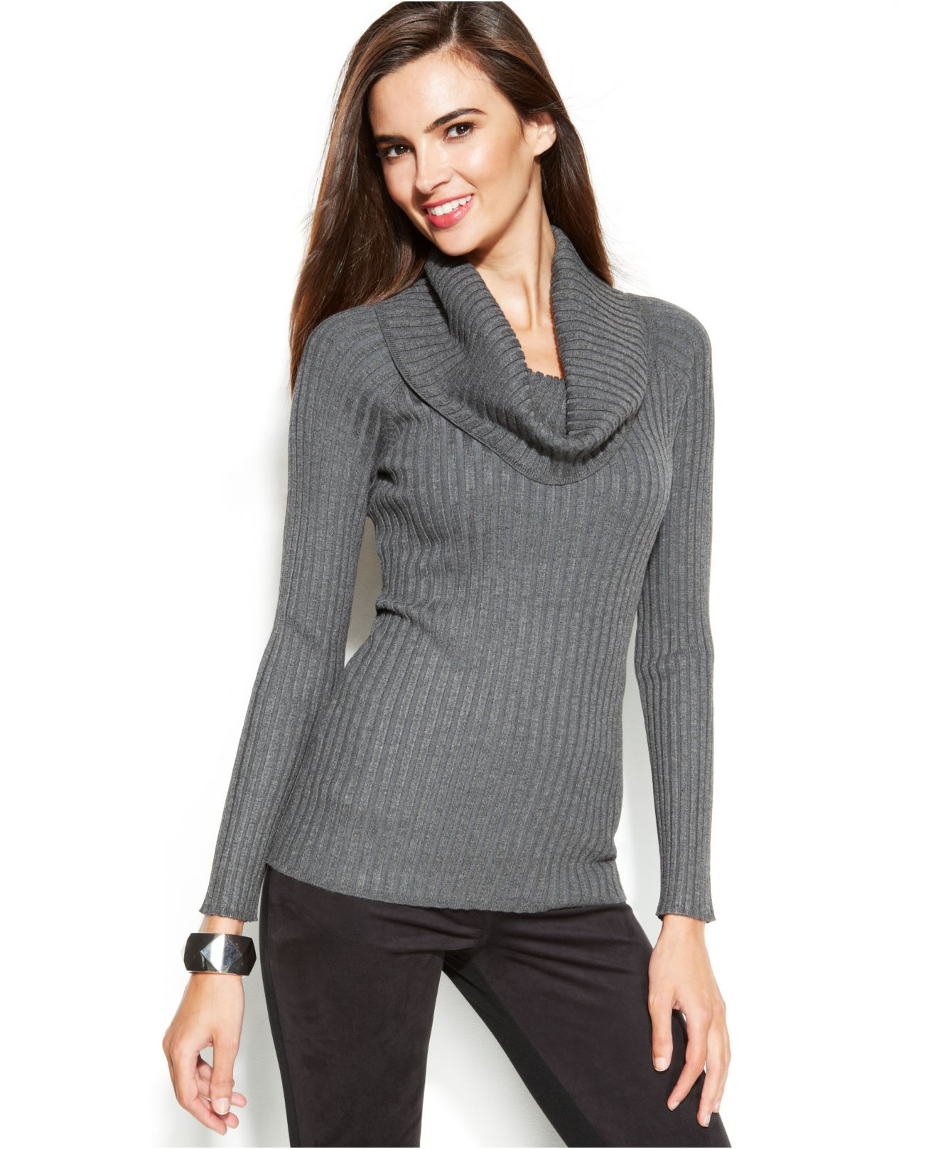 Inc international concepts Ribbed-Knit Cowl-Neck Sweater in Gray ...
