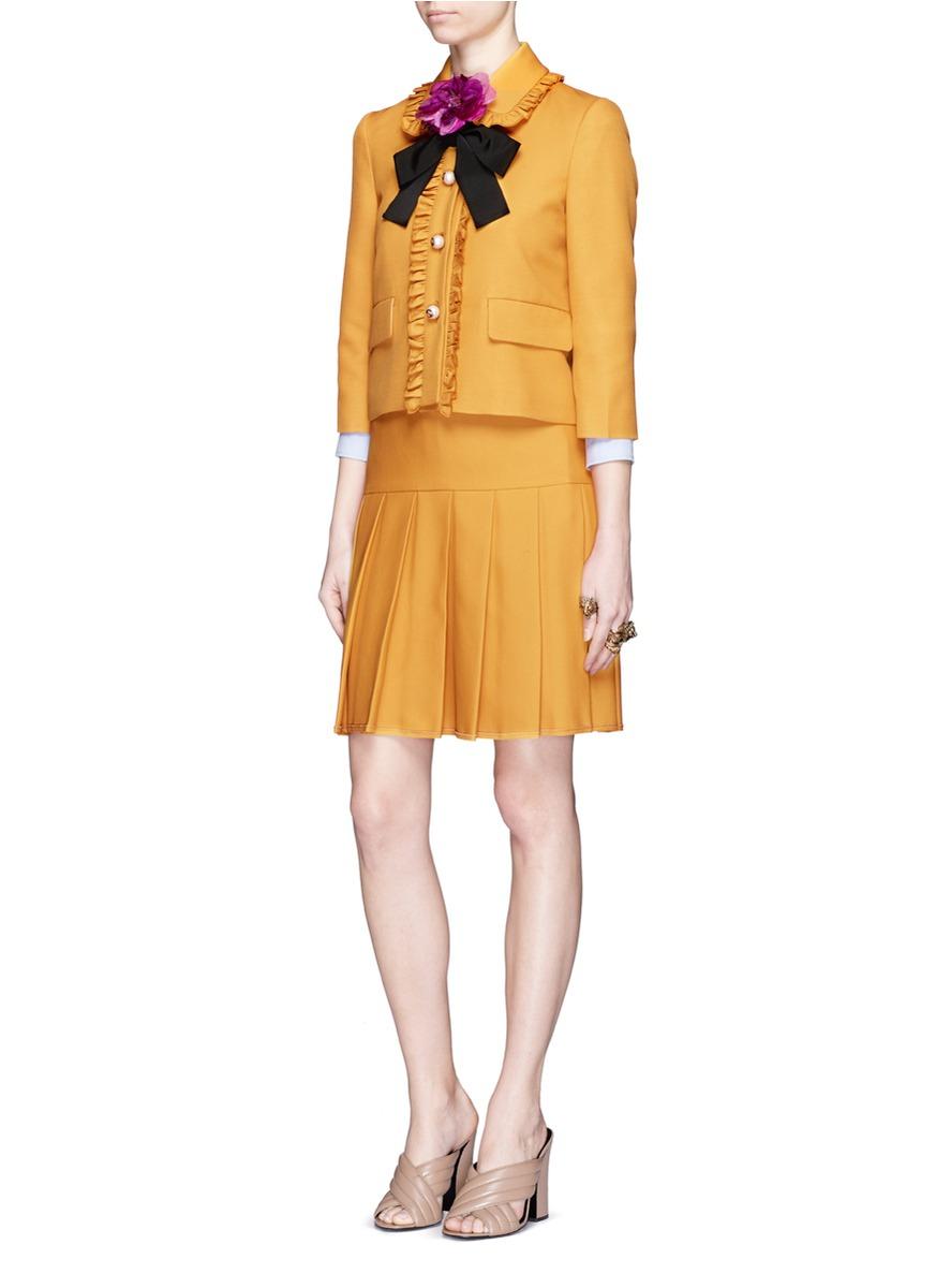 Gucci Ruffle Trim Silk Wool Cady Jacket In Yellow Lyst