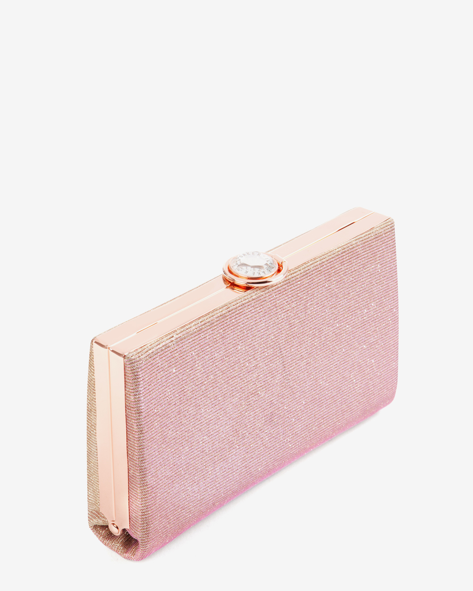 3f5034dbcefc2e Ted Baker Hard Case Glitter Clutch Bag in Pink - Lyst