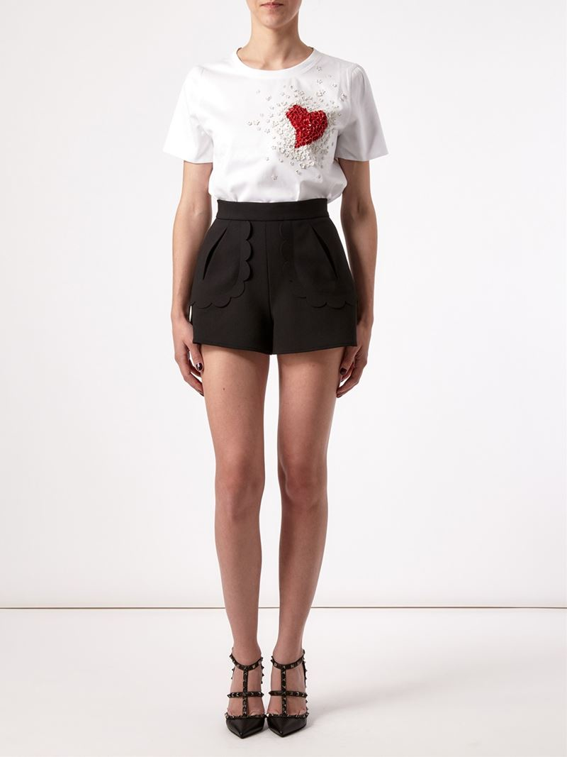 Red valentino Scalloped Trim Shorts in Black | Lyst