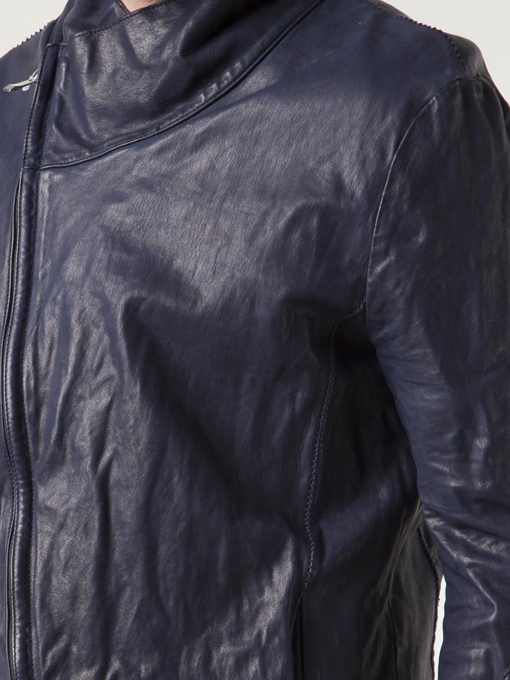 Incarnation Leather Zip Jacket In Blue For Men Lyst
