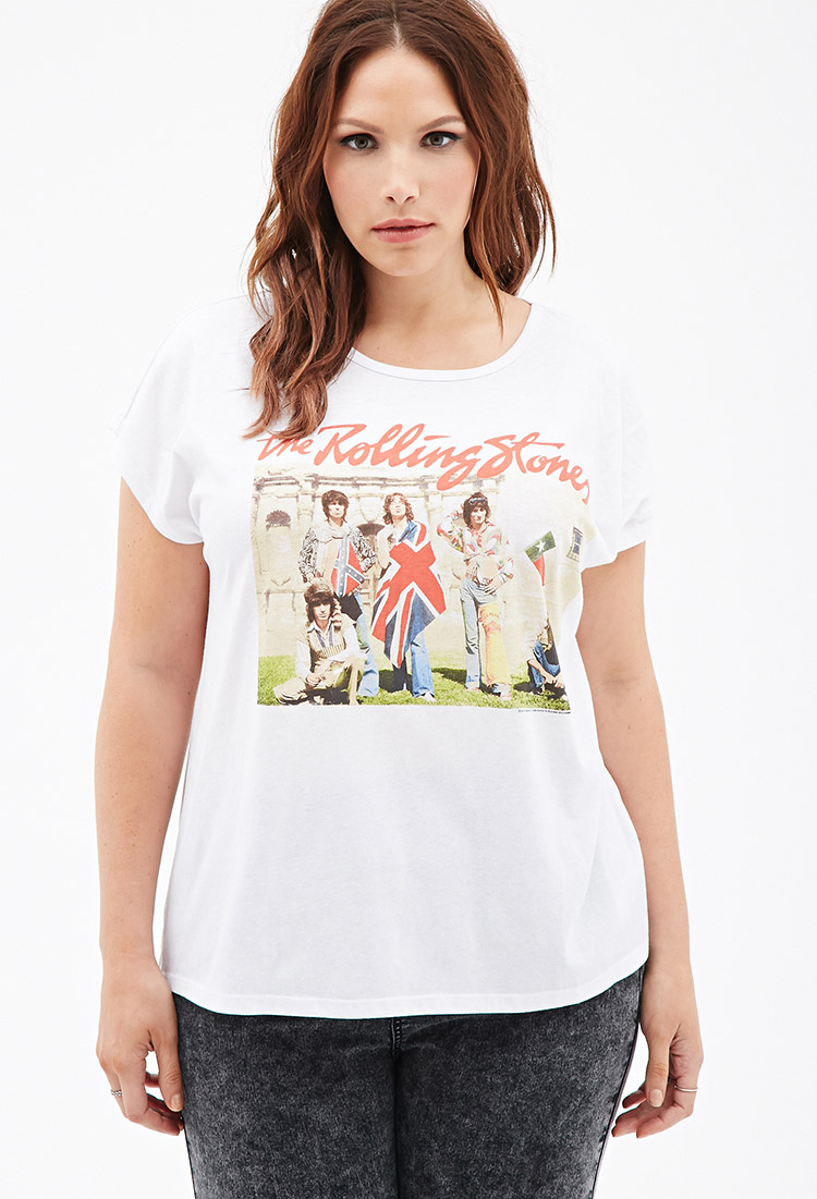 9f862897edd Lyst - Forever 21 Plus Size The Rolling Stones Graphic Tee in White