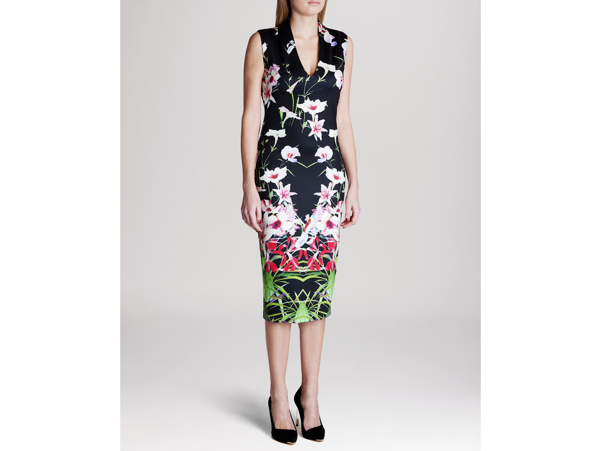 505e1116d Lyst - Ted Baker Dress - Jalita Mirrored Tropics in Black