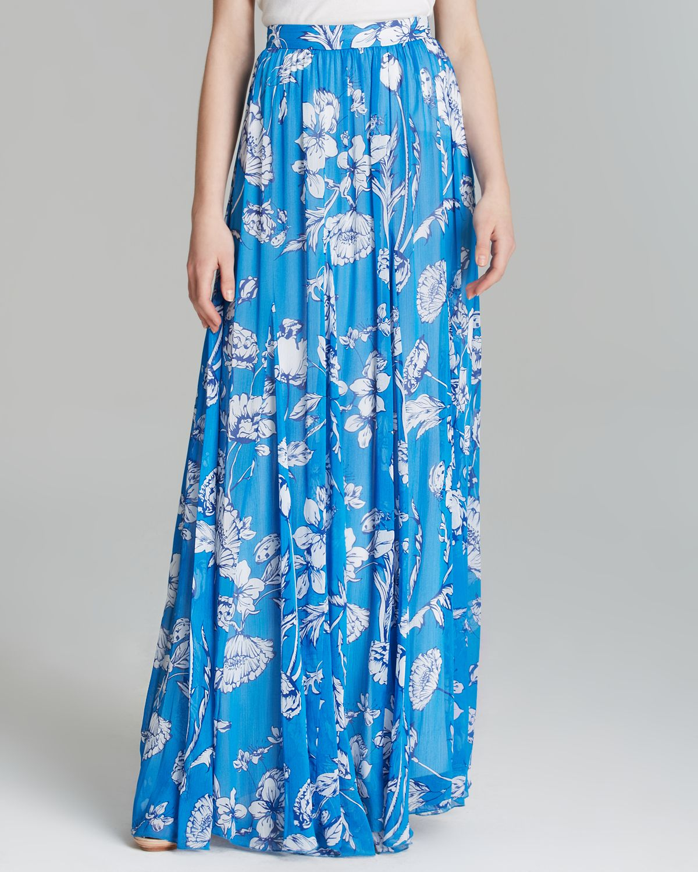 Alice   olivia Alice Olivia Maxi Skirt Louie Floral Print in Blue ...