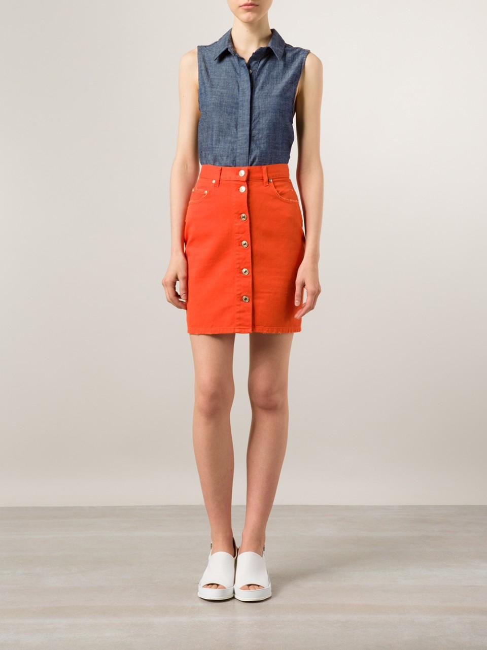 Msgm Button Front Denim Skirt in Orange | Lyst