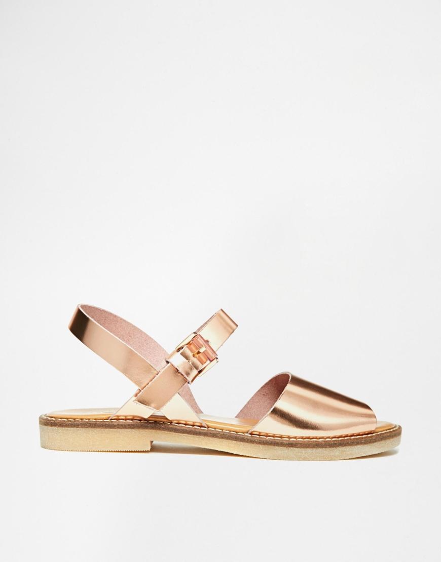 4ba10fce2fe615 Lyst - ALDO Roncari Rose Gold Leather Flat Sandals in Pink