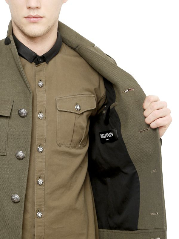 Balmain Military Style Wool Blend Canvas Jacket in Natural for Men ...