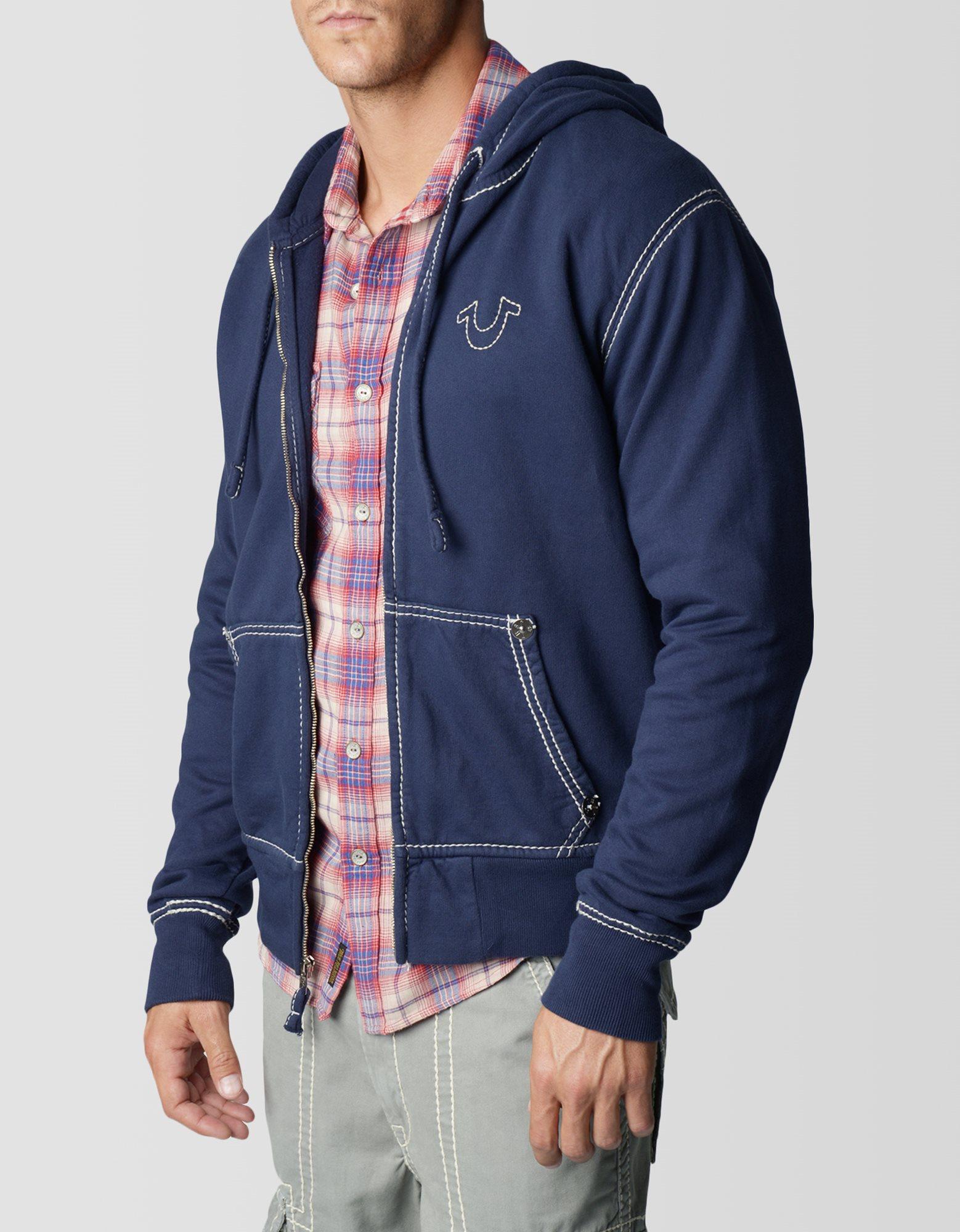 True Religion Logo Flatlock Zip Up Mens Hoodie In Blue For