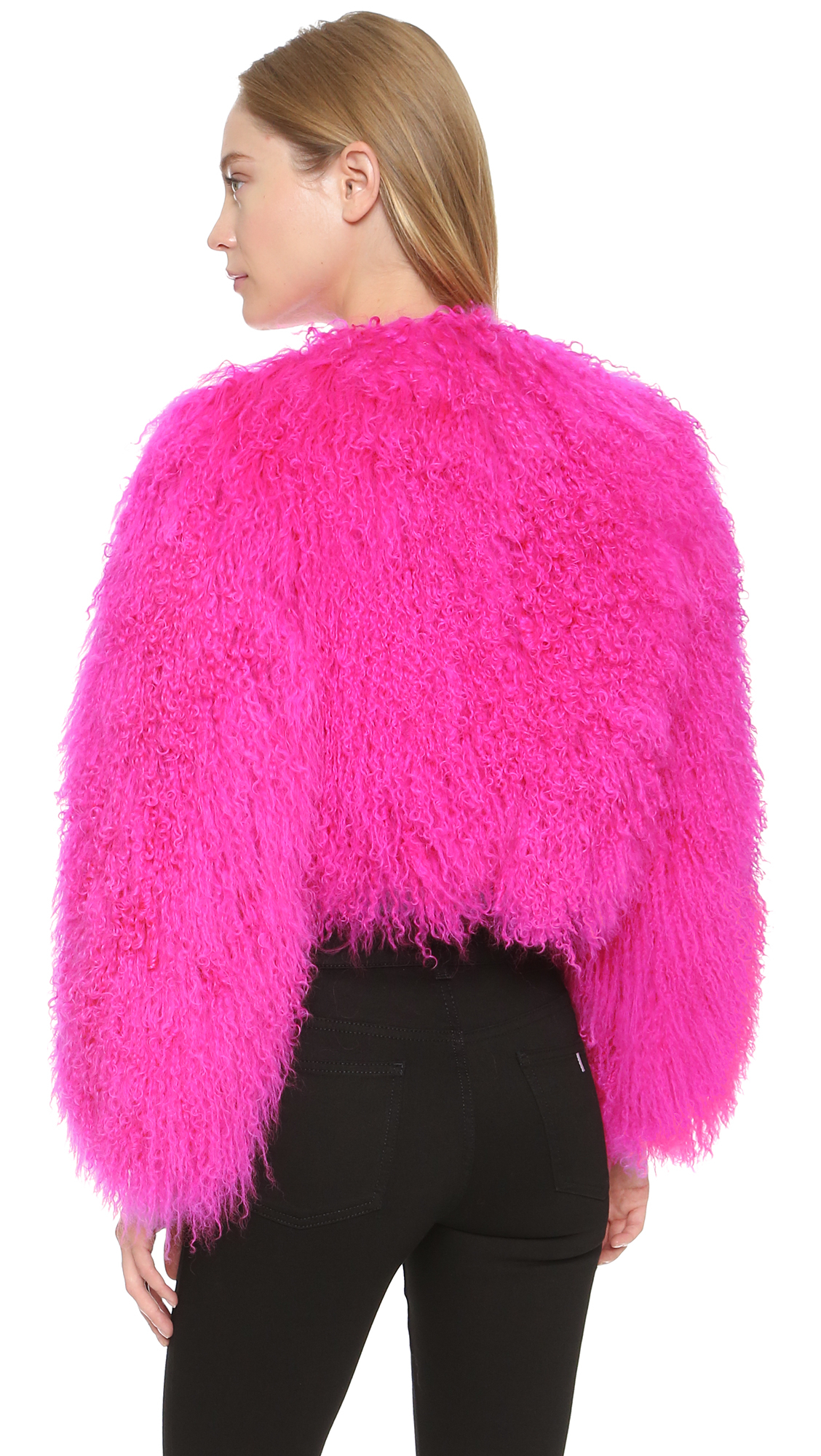 Boutique moschino Fur Jacket - Pink in Pink | Lyst