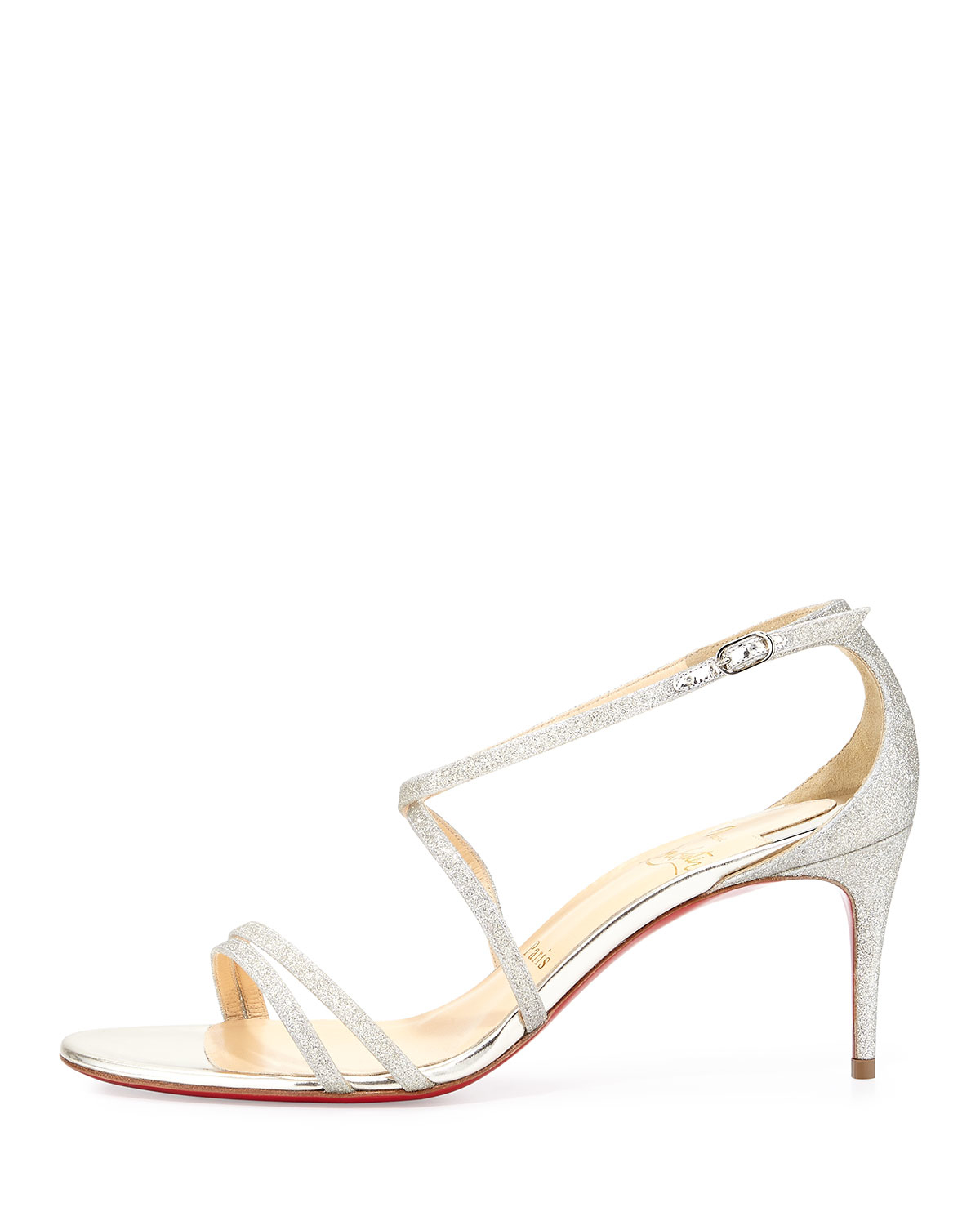 christian louboutin strappy glitter leather sandals