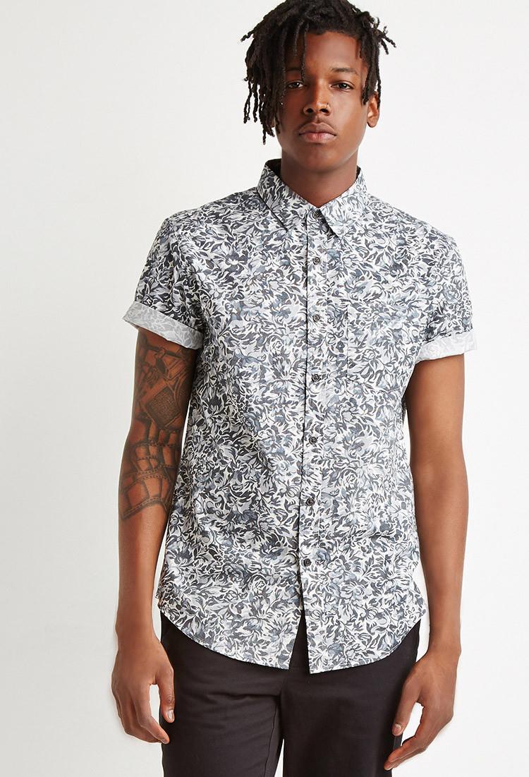 Forever 21 floral pattern shirt in gray for men lyst for Patterned dress shirts for men