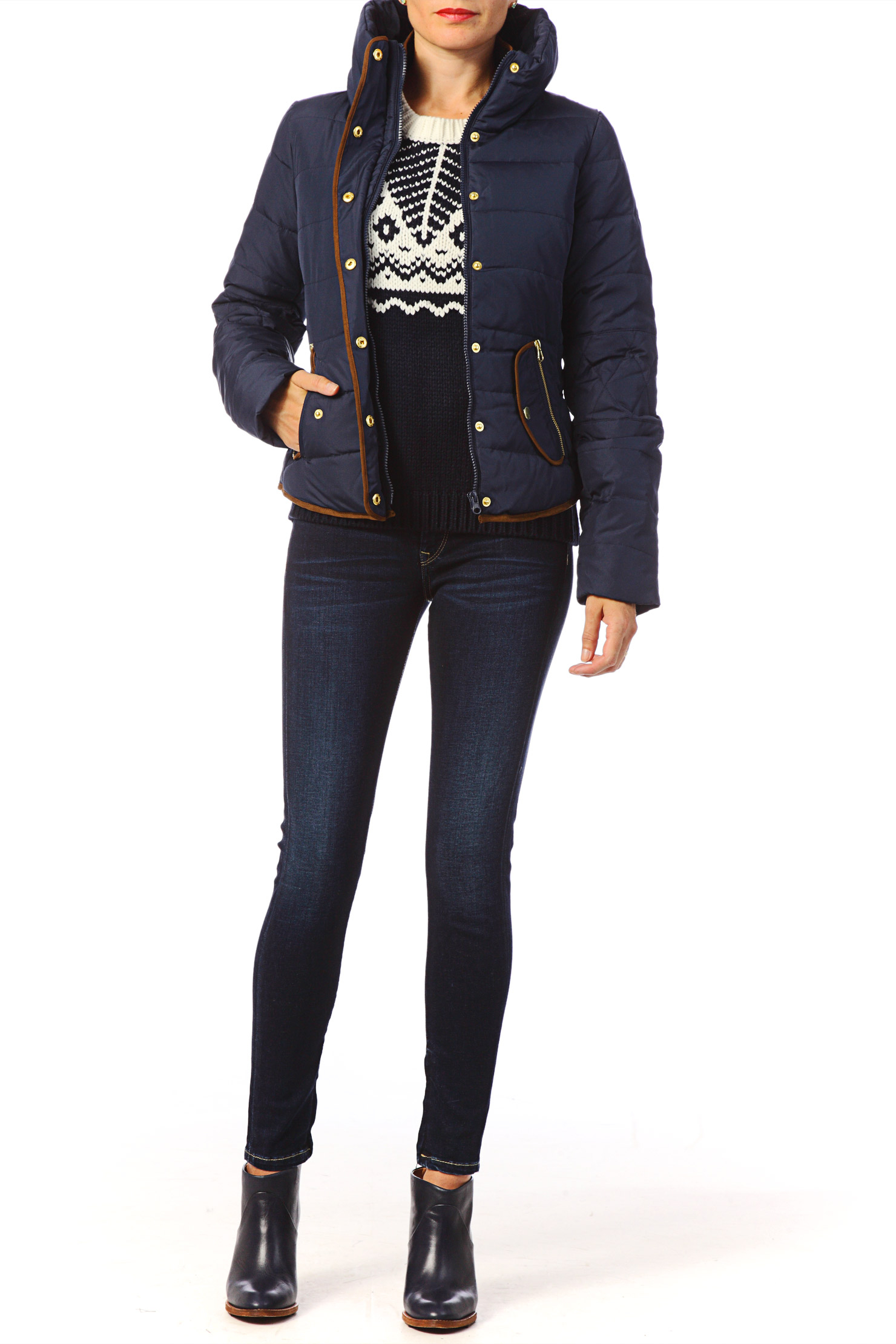 vero moda blue quilted jacket lyst. Black Bedroom Furniture Sets. Home Design Ideas