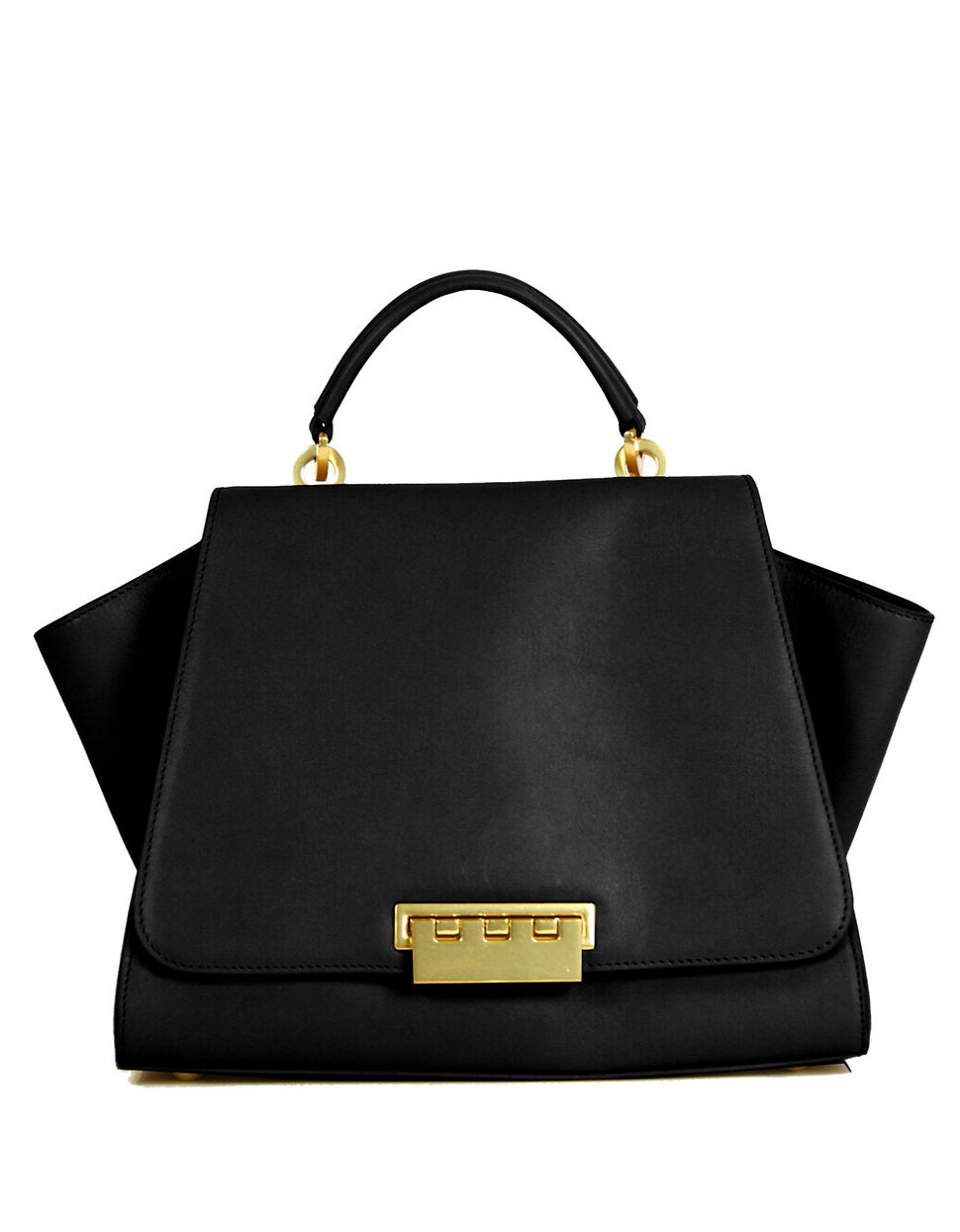 Zac Zac Posen Eartha Leather Soft Top Handle Bag In Black