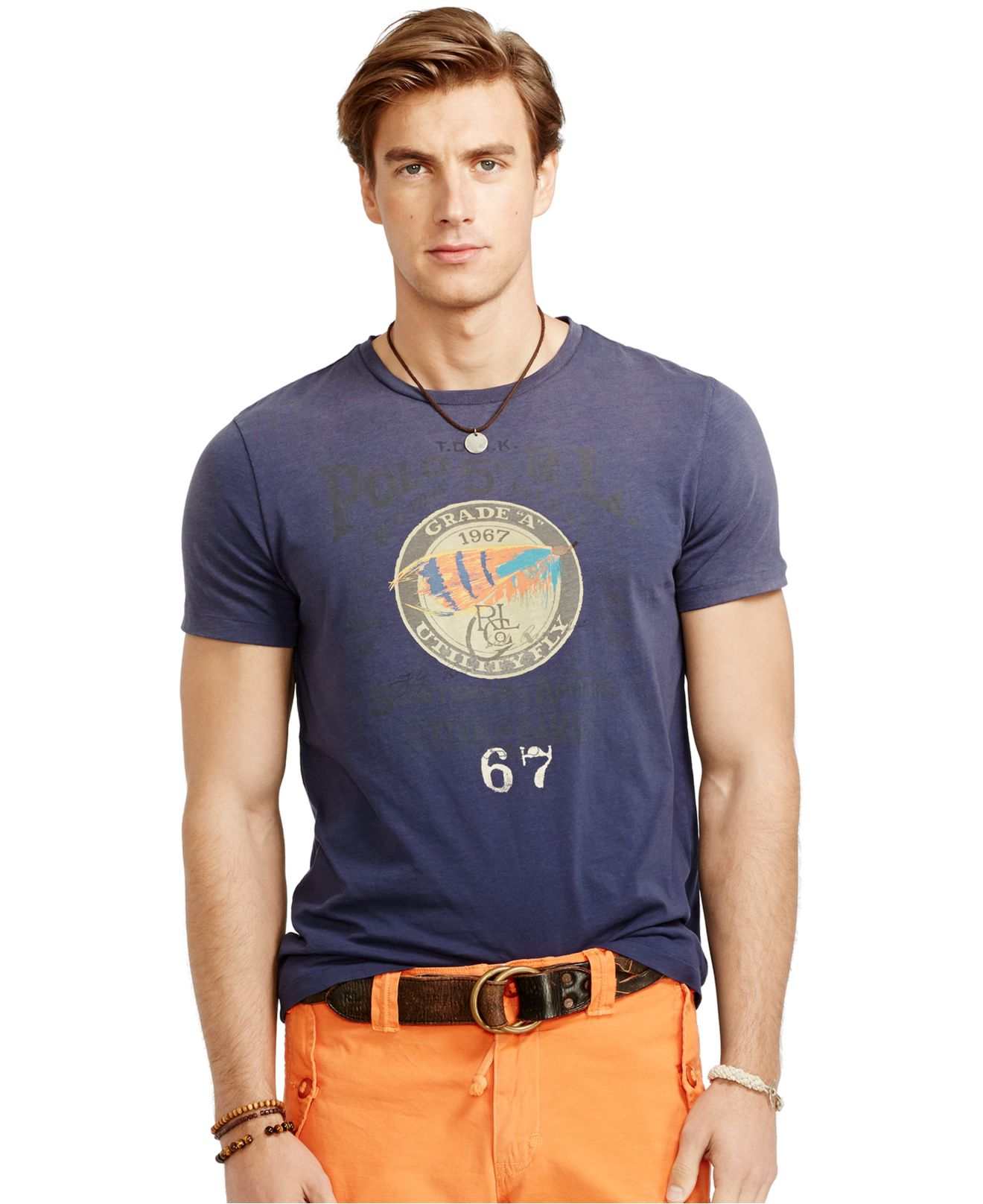 lyst polo ralph lauren fishing lure graphic t shirt in. Black Bedroom Furniture Sets. Home Design Ideas