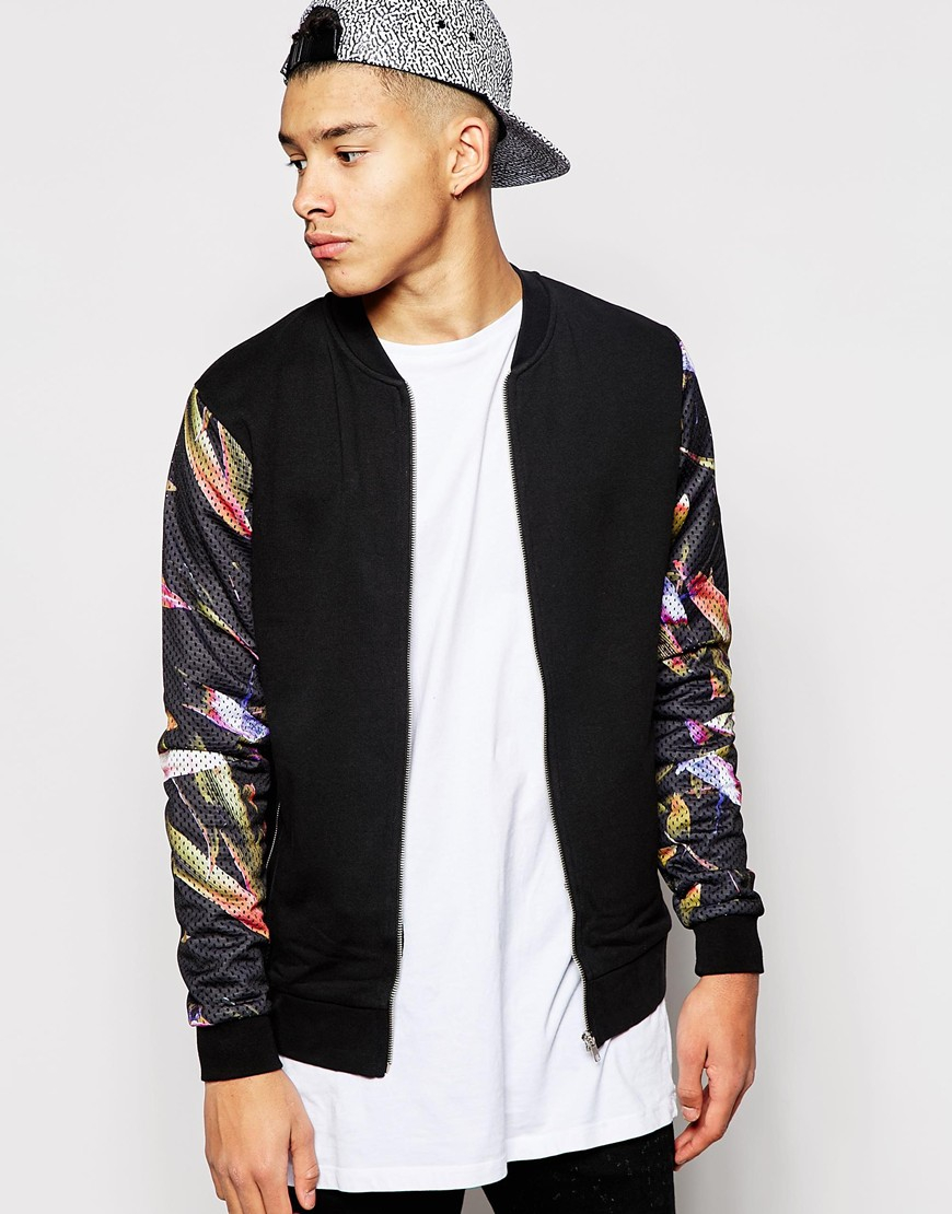Bomber Jacket With Floral Sleeves - JacketIn
