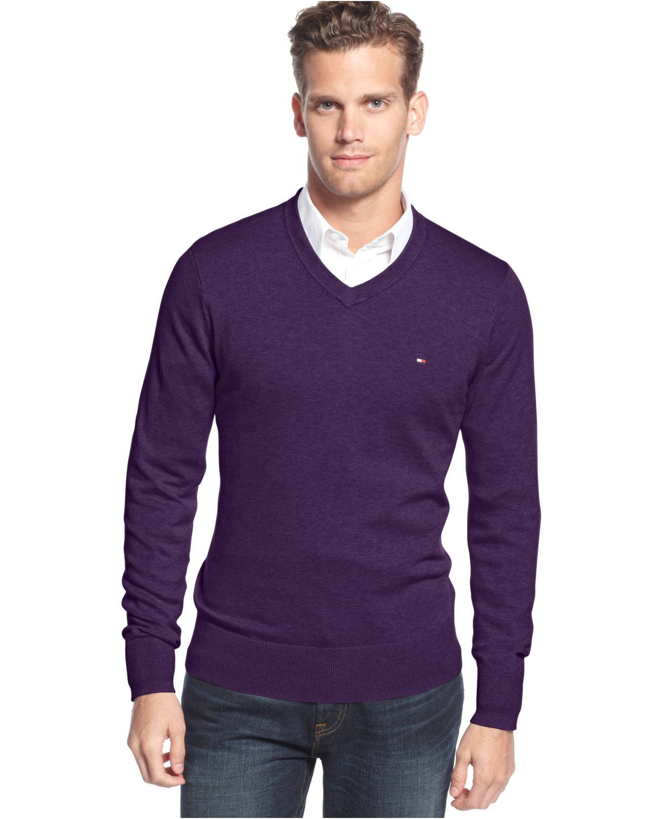 Tommy hilfiger Signature Solid V-neck Sweater in Purple for Men | Lyst