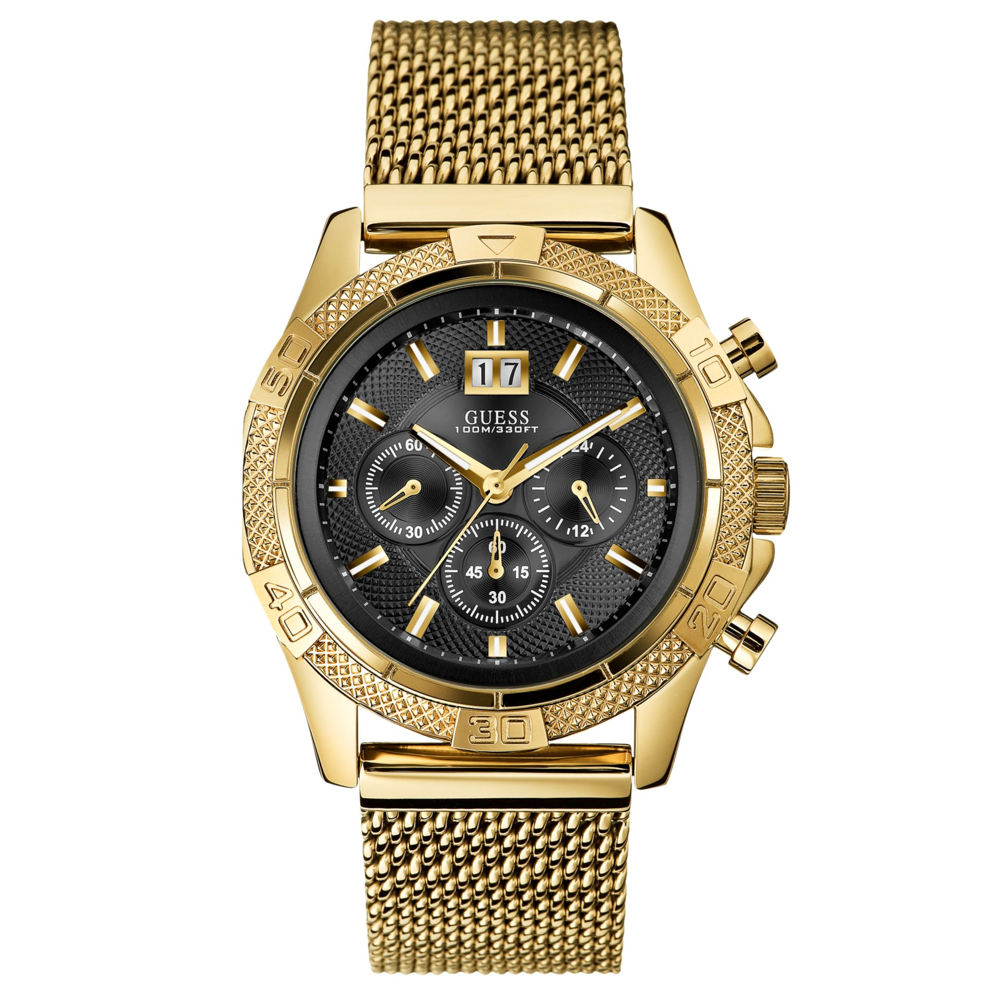 Guess Men'S Chronograph Gold Tone Stainless Steel Mesh ...